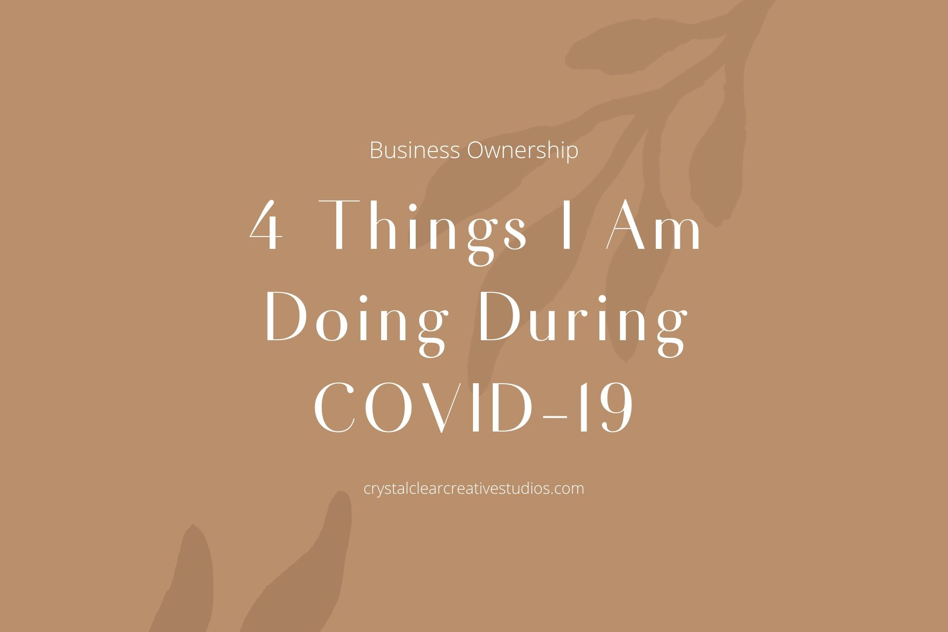 4 Things I Am Doing During COVID-19