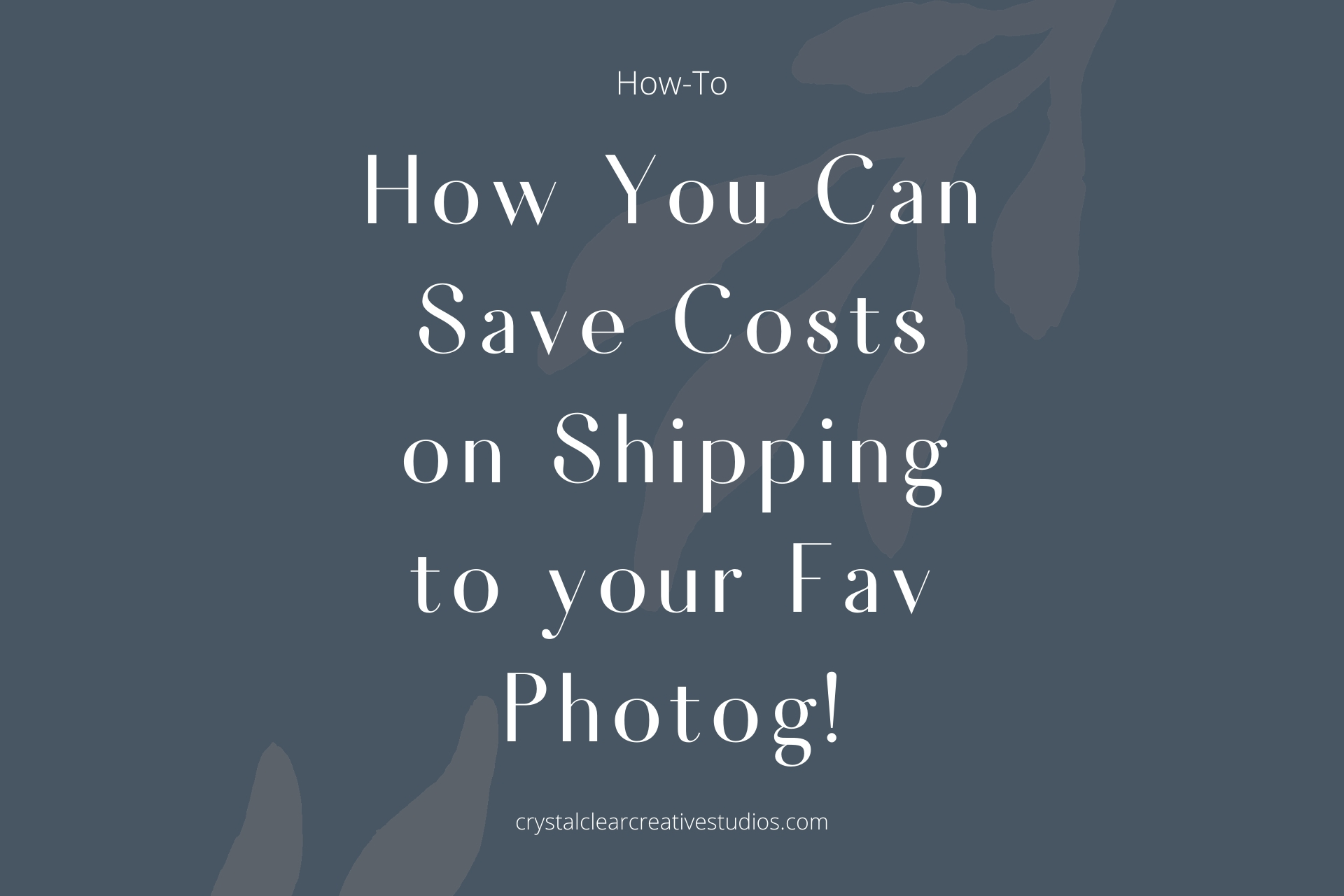 How You Can Save Costs on Shipping to your Fav Photog!